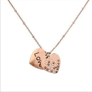 Gold Color Heart Charm Love Necklace